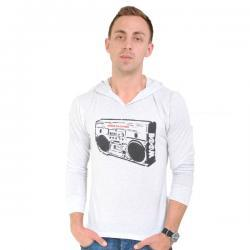 Boom Box Hooded Long Sleeve Tee